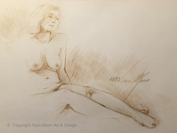 Nude Sketch 1982 by Sara Moon