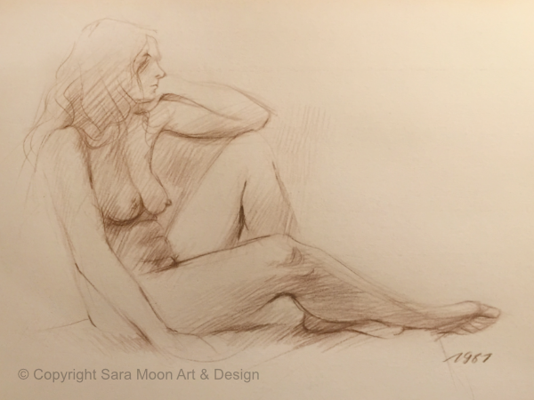 Nude Sketch 1987 by Sara Moon