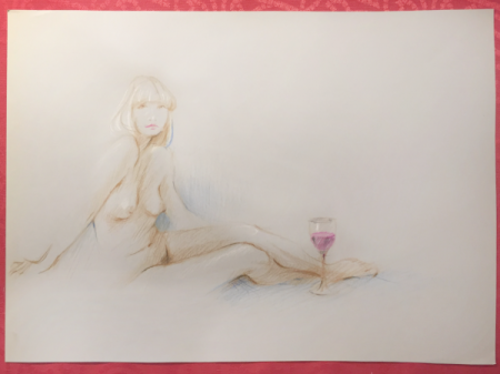 'Nude with Wine' by Sara Moon