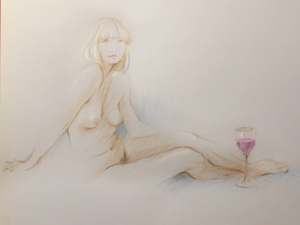 Nude With Wine by Sara Moon