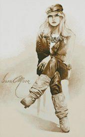 Rocker Girl Cross Stitch Pattern
