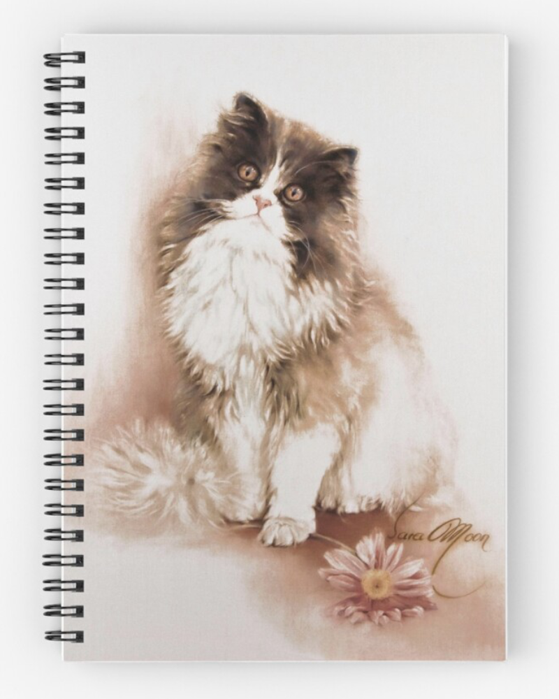 Cat with Flowers Coasters by Sara Moon