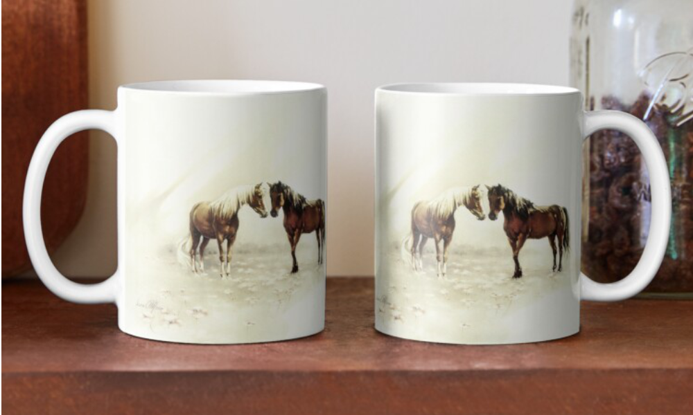 'Horses Meeting Mugs