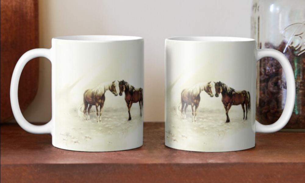 'Horses Meeting Mugs & Travel Mugs