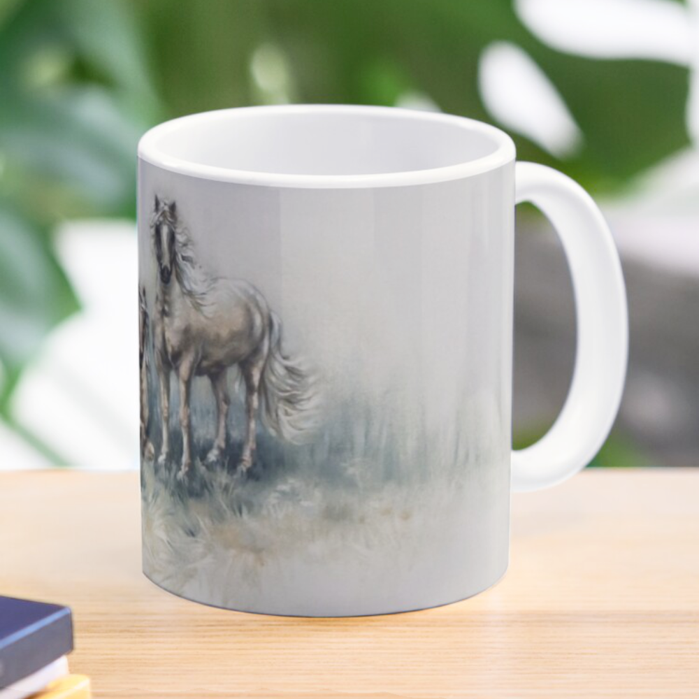 'Horses Meeting Mugs & Travel Mugs