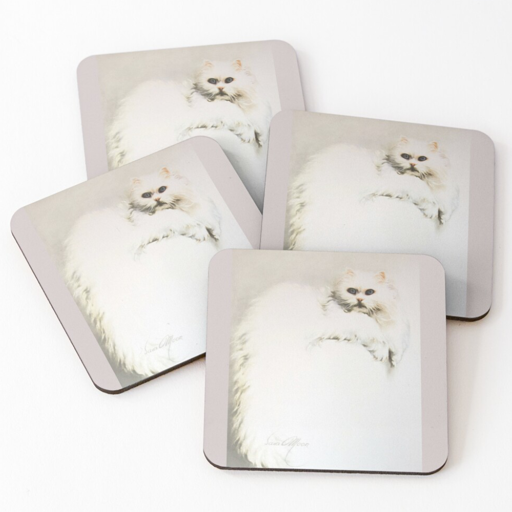 'White Persian Cat' Coasters by Sara Moon