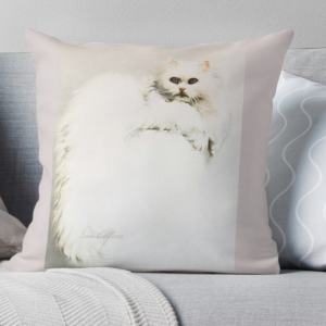 'White Persian Cat' Pillow by Sara Moon