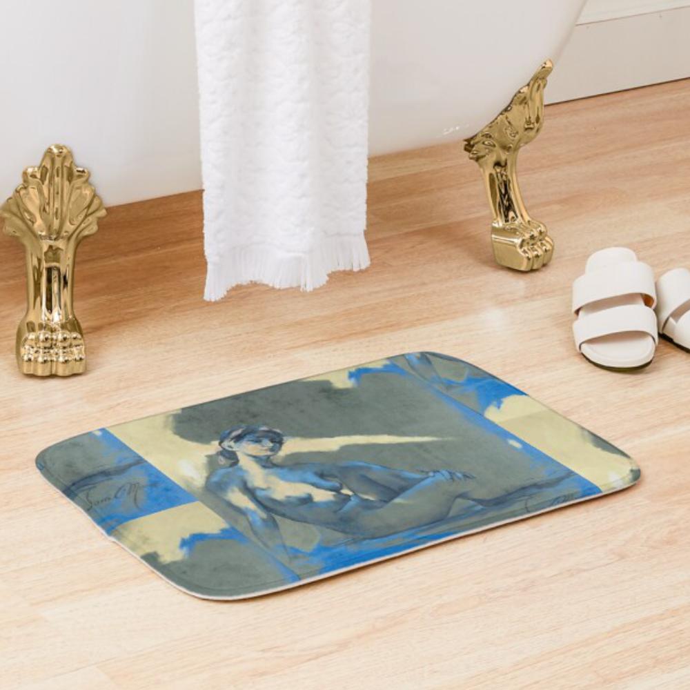 'Blue Nude l' Bath Mat by Sara Moon