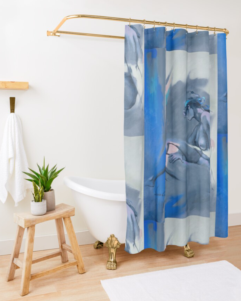 'Blue Nude ll' Shower Curtain by Sara Moon