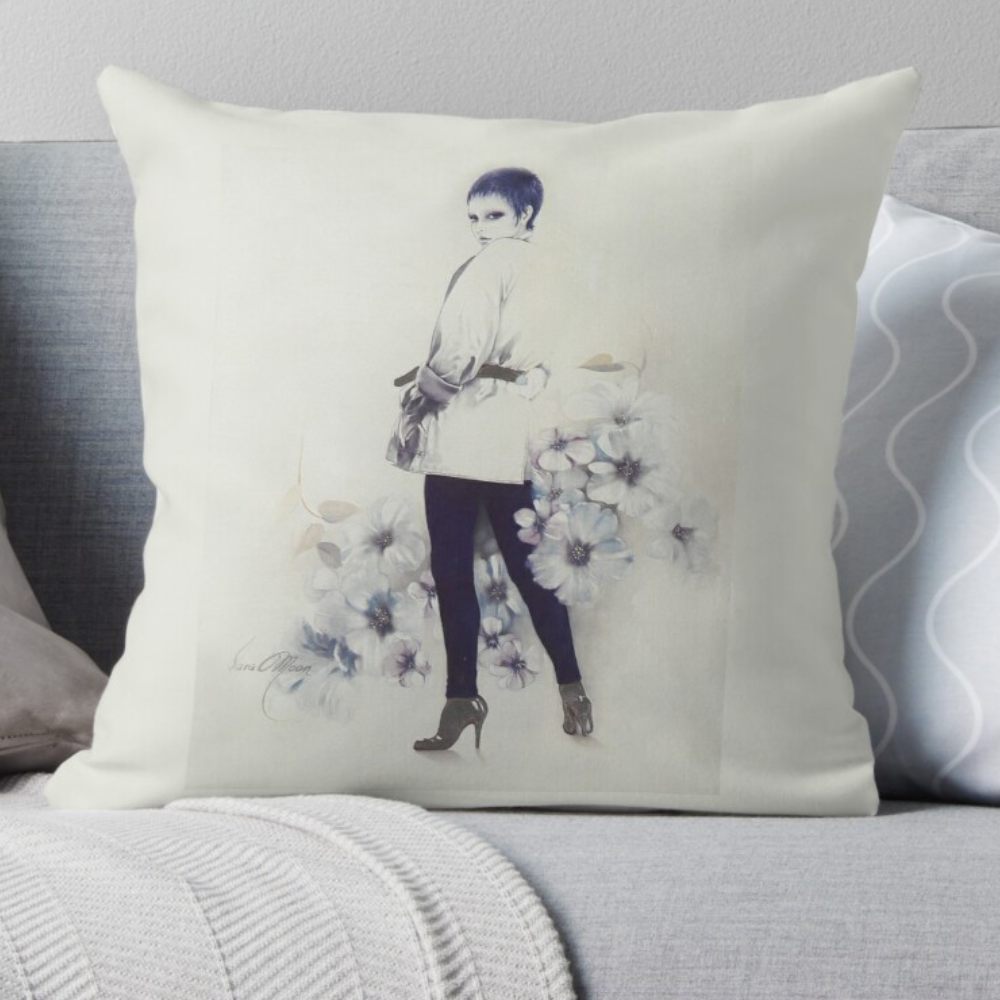 Girl in Blue Pillow by Sara Moon