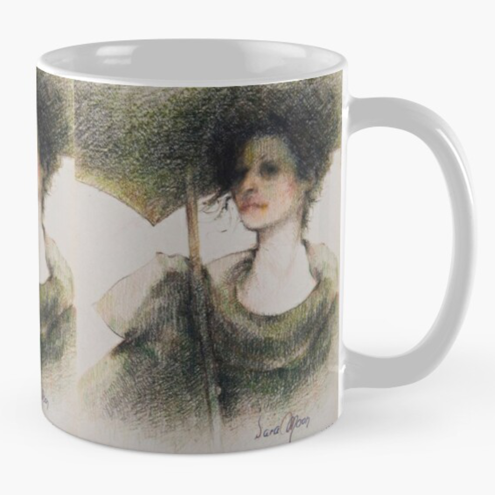 Black Parasol Mugs by Sara Moon