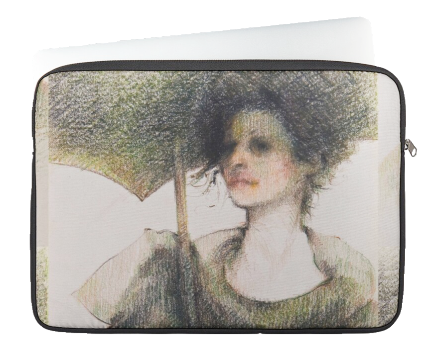 Black Parasol Zip Case by Sara Moon