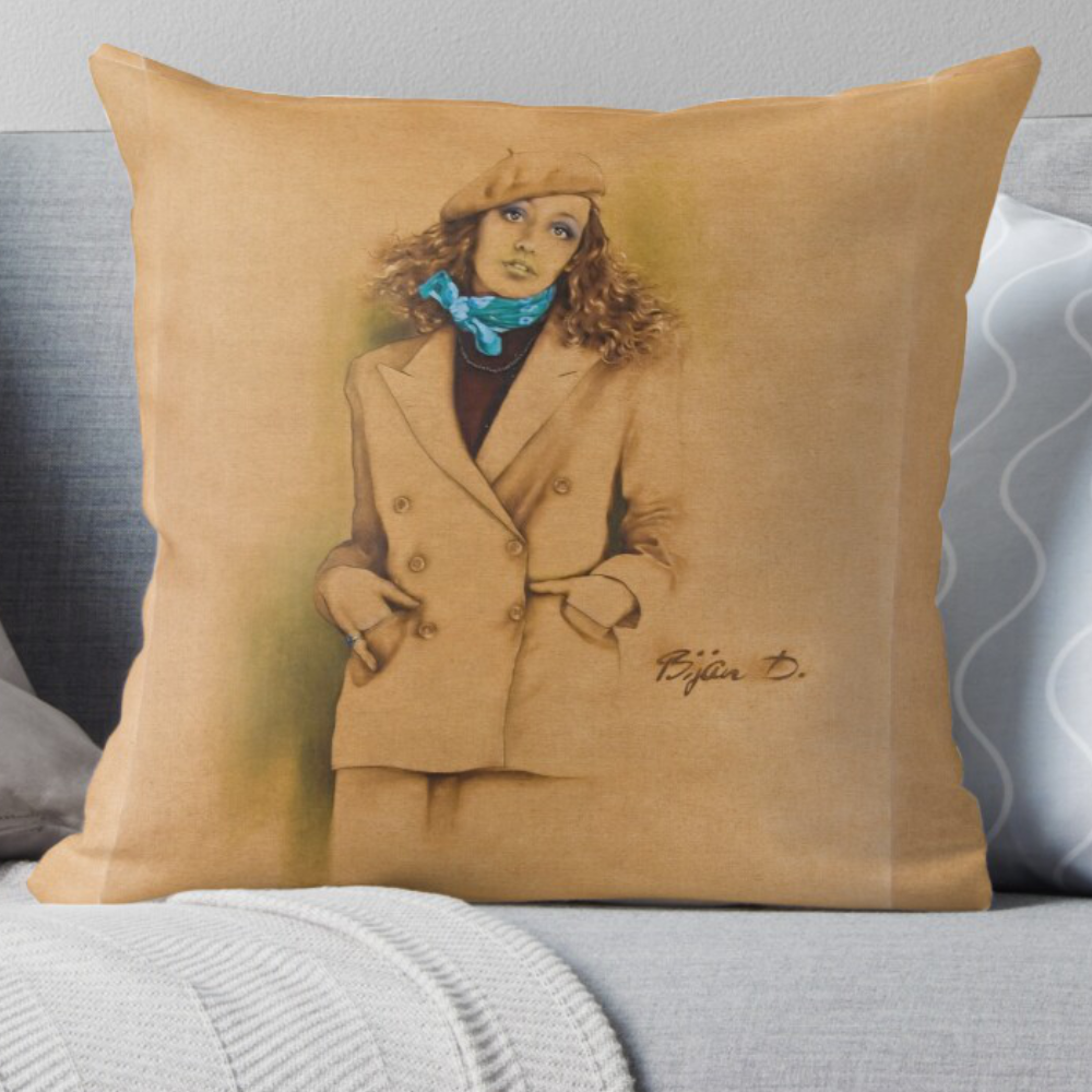 French Beret Pillow Signed 'Bijan D'