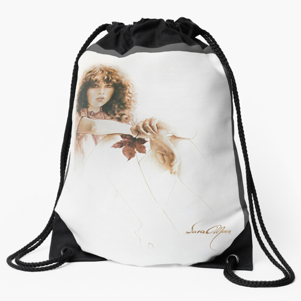 'Girl With Maple Leaf' Draw-String Bag by Sara Moon