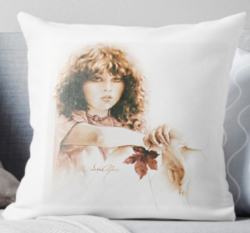 'Girl with Maple Leaf' Pillow by Sara Moon
