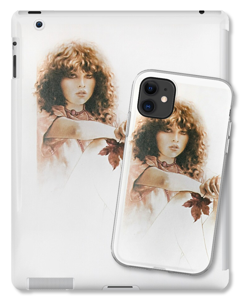'Girl with Maple Leaf' Tablet & Phone Skins by Sara Moon