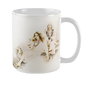 Girls By Fountain Mug by Sara Moon