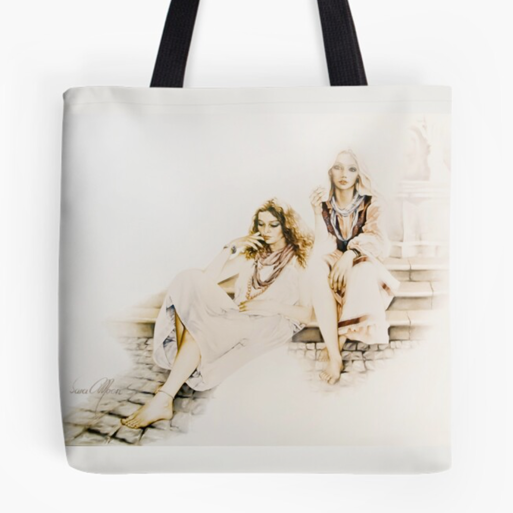 Girls By The Fountain Tote Bag by Sara Moon