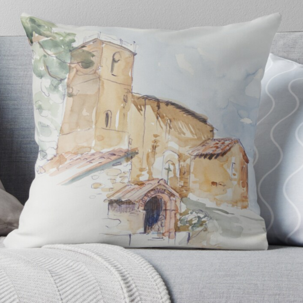 'A Country Church' Pillow by Bijan D.
