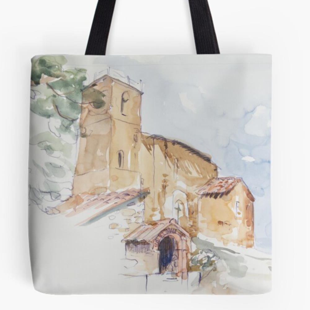 'A Country Church' Tote Bag by Bijan D.