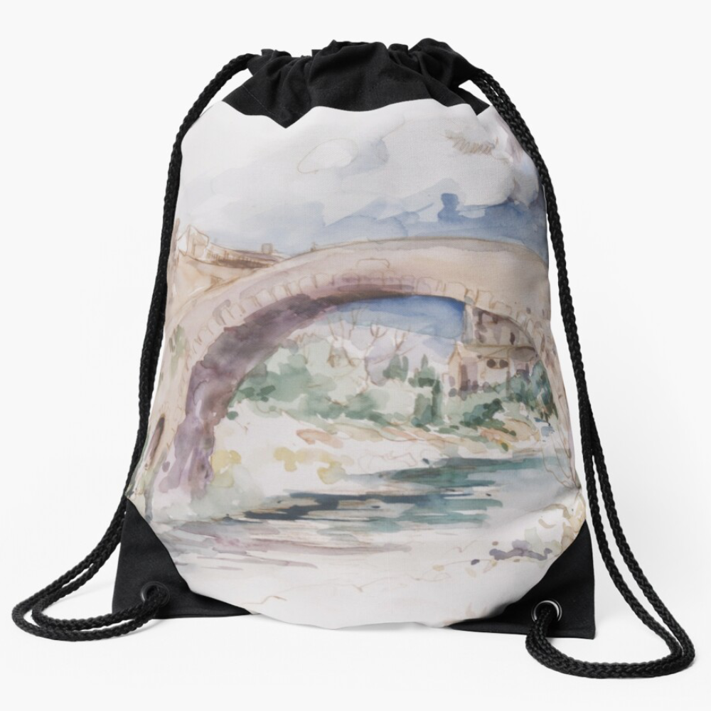 """By The Riverside' Draw-String Bag by Bijan D."
