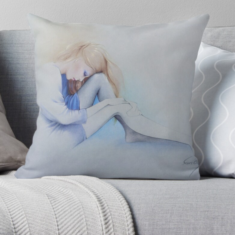 'Sara Blue' Pillow by Sara Moon