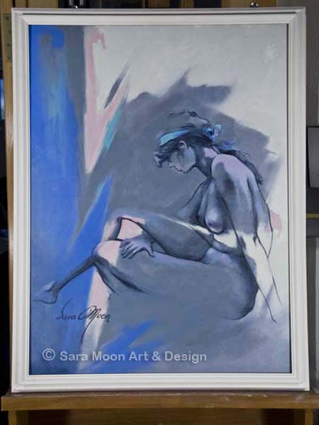 Original Blue Nude l on the artist's easel