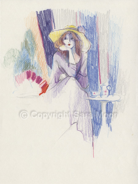 ORIGINAL 'Jacqueline's Hat' Sketch by Sara Moon