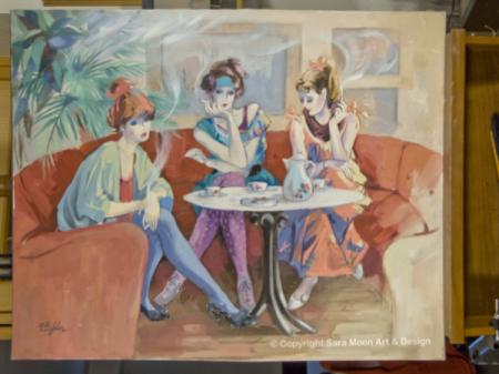 Original 'Café Chat' Artwork Signed Bijan