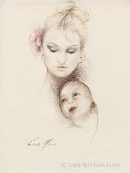 "Original ""Mother and Child"" by Sara Moon"
