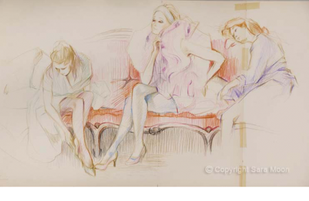 Original Sketch for 'Going To The Ball' by Sara Moon